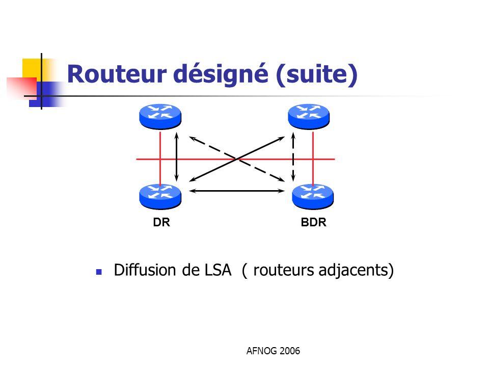 AFNOG 2006 Routeur désigné (suite) Diffusion de LSA ( routeurs adjacents) DRBDR
