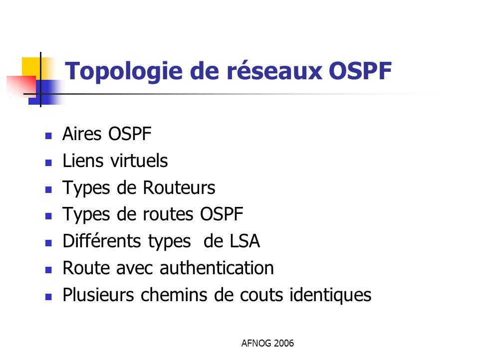 AFNOG 2006 Topologie de réseaux OSPF Aires OSPF Liens virtuels Types de Routeurs Types de routes OSPF Différents types de LSA Route avec authenticatio