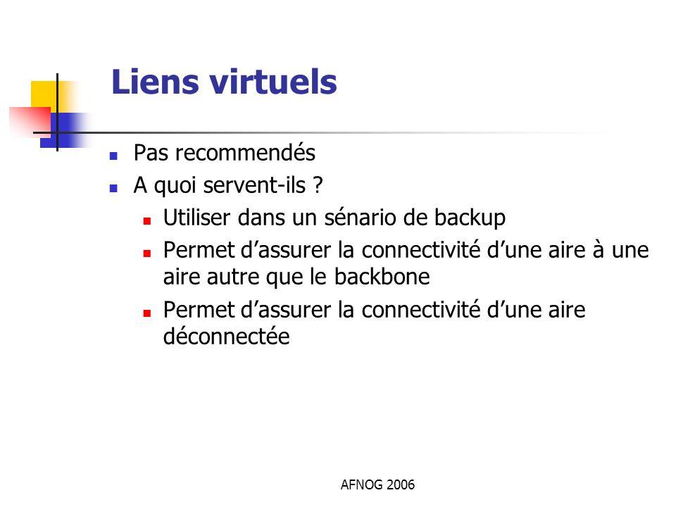 AFNOG 2006 Liens virtuels Pas recommendés A quoi servent-ils ? Utiliser dans un sénario de backup Permet dassurer la connectivité dune aire à une aire