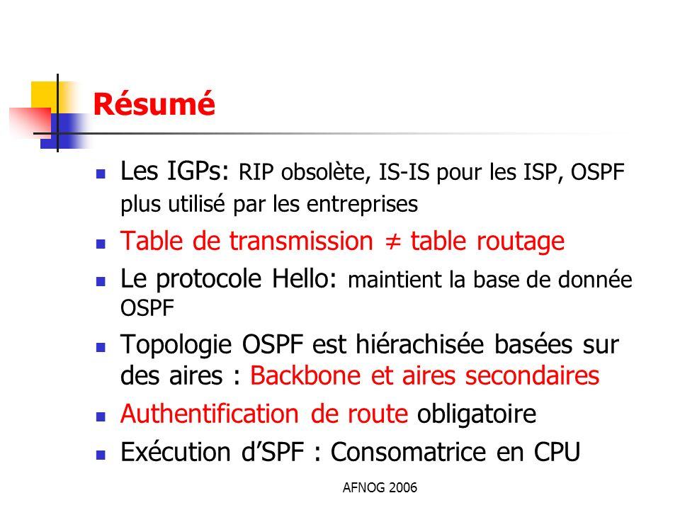 AFNOG 2006 Résumé Les IGPs: RIP obsolète, IS-IS pour les ISP, OSPF plus utilisé par les entreprises Table de transmission table routage Le protocole H