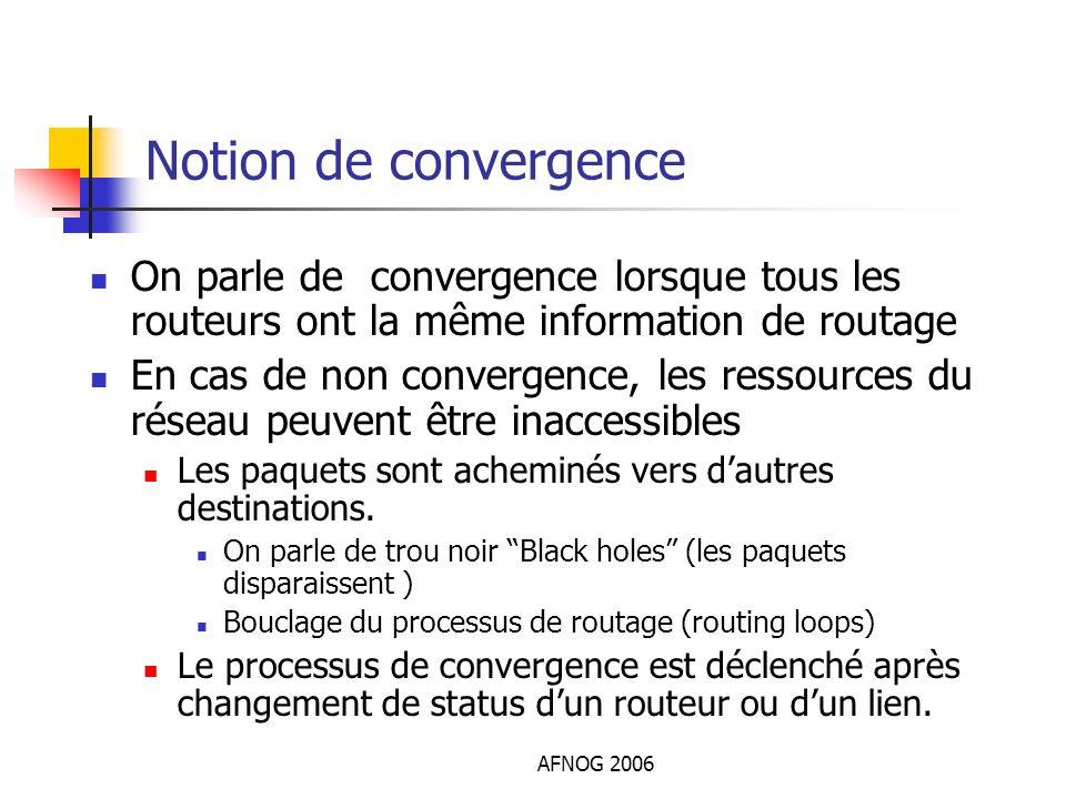 AFNOG 2006 Notion de convergence On parle de convergence lorsque tous les routeurs ont la même information de routage En cas de non convergence, les r