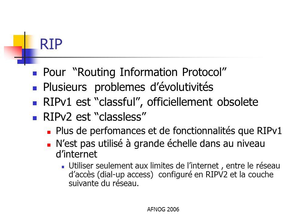 AFNOG 2006 RIP Pour Routing Information Protocol Plusieurs problemes dévolutivités RIPv1 est classful, officiellement obsolete RIPv2 est classless Plu