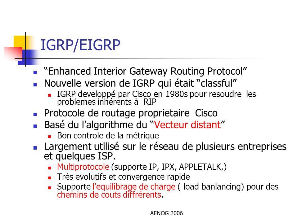 AFNOG 2006 IGRP/EIGRP Enhanced Interior Gateway Routing Protocol Nouvelle version de IGRP qui était classful IGRP developpé par Cisco en 1980s pour re