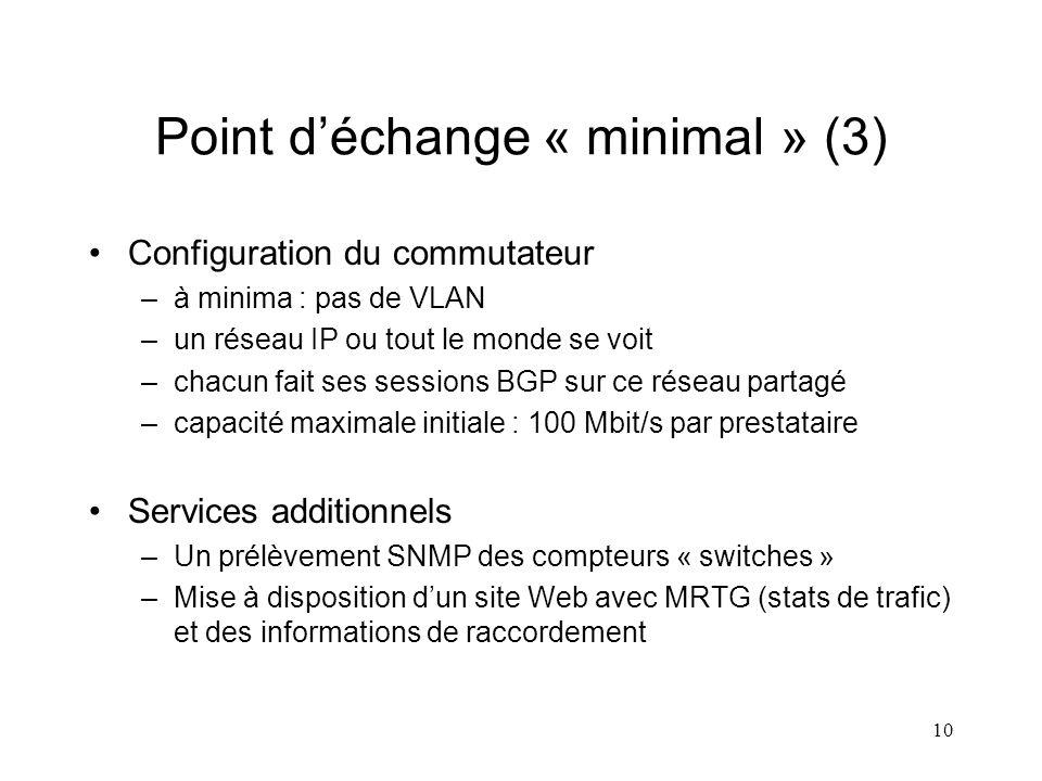 10 Point déchange « minimal » (3) Configuration du commutateur –à minima : pas de VLAN –un réseau IP ou tout le monde se voit –chacun fait ses sessions BGP sur ce réseau partagé –capacité maximale initiale : 100 Mbit/s par prestataire Services additionnels –Un prélèvement SNMP des compteurs « switches » –Mise à disposition dun site Web avec MRTG (stats de trafic) et des informations de raccordement