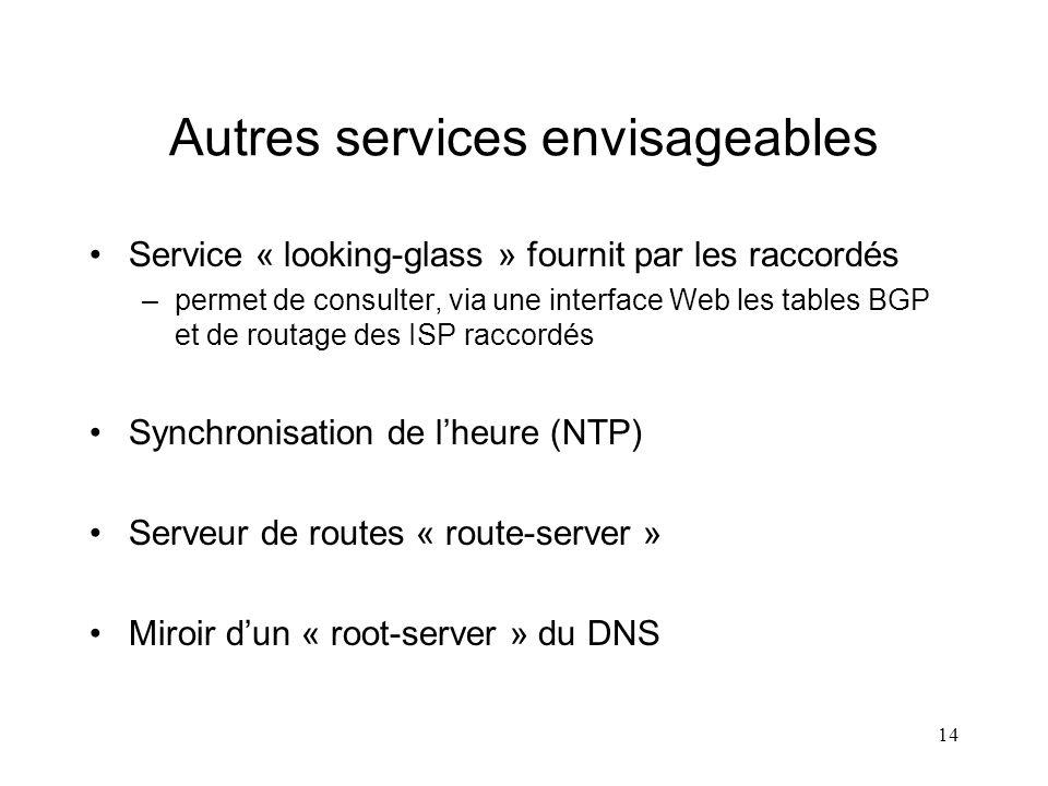 14 Autres services envisageables Service « looking-glass » fournit par les raccordés –permet de consulter, via une interface Web les tables BGP et de routage des ISP raccordés Synchronisation de lheure (NTP) Serveur de routes « route-server » Miroir dun « root-server » du DNS