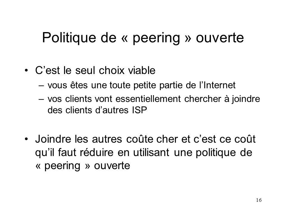 16 Politique de « peering » ouverte Cest le seul choix viable –vous êtes une toute petite partie de lInternet –vos clients vont essentiellement cherch