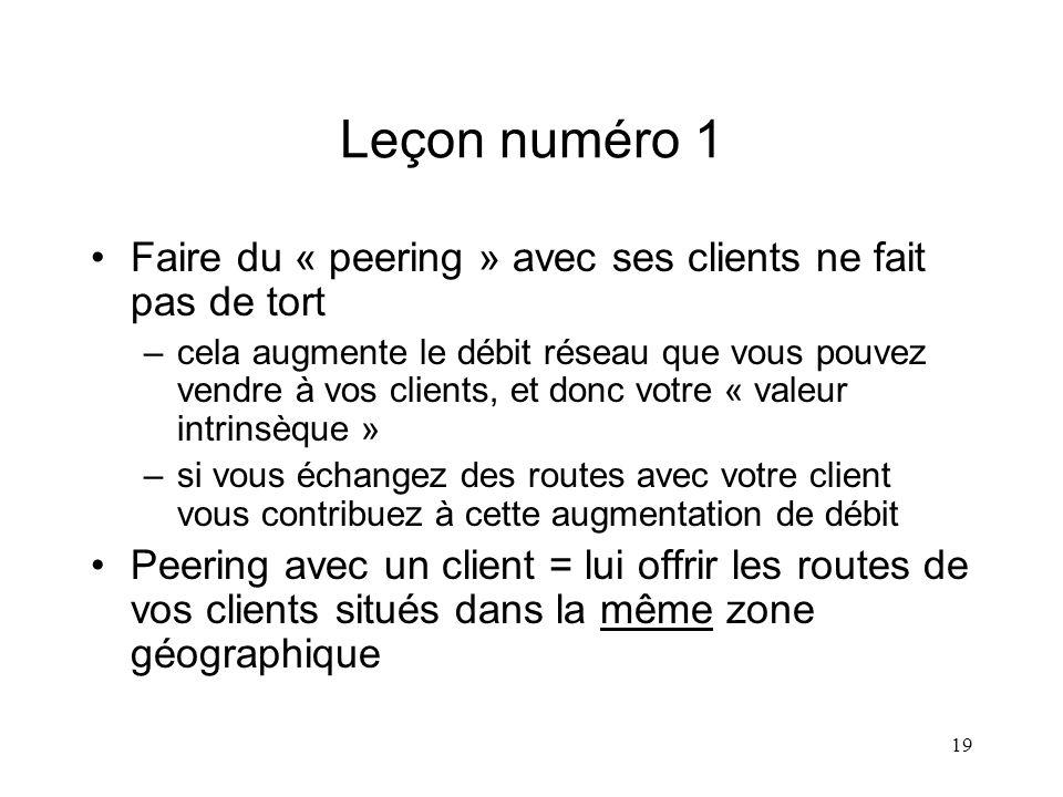 19 Leçon numéro 1 Faire du « peering » avec ses clients ne fait pas de tort –cela augmente le débit réseau que vous pouvez vendre à vos clients, et do