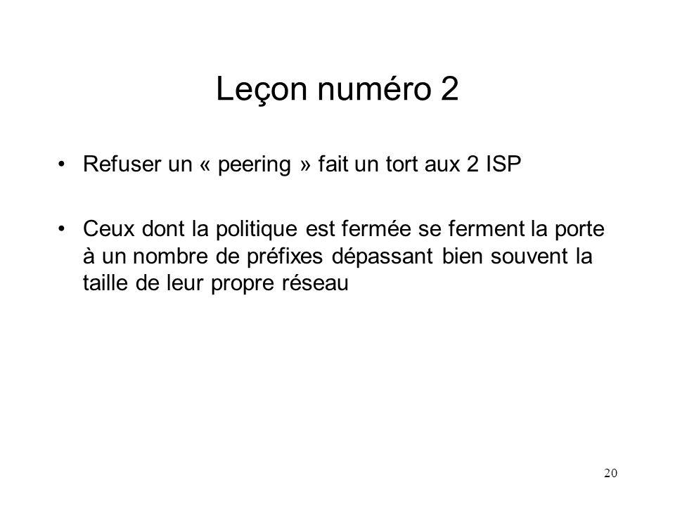 20 Leçon numéro 2 Refuser un « peering » fait un tort aux 2 ISP Ceux dont la politique est fermée se ferment la porte à un nombre de préfixes dépassant bien souvent la taille de leur propre réseau