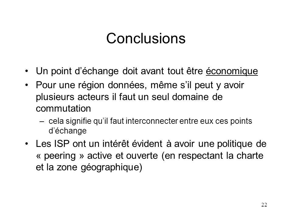 22 Conclusions Un point déchange doit avant tout être économique Pour une région données, même sil peut y avoir plusieurs acteurs il faut un seul doma