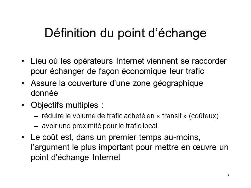 3 Définition du point déchange Lieu où les opérateurs Internet viennent se raccorder pour échanger de façon économique leur trafic Assure la couvertur