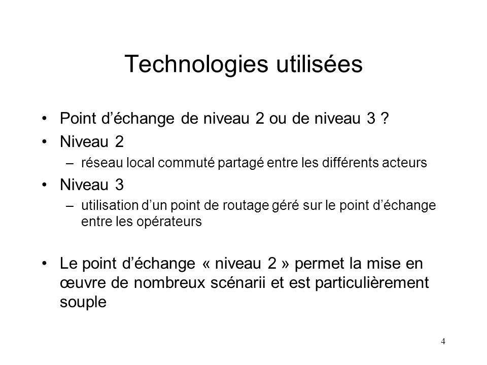4 Technologies utilisées Point déchange de niveau 2 ou de niveau 3 ? Niveau 2 –réseau local commuté partagé entre les différents acteurs Niveau 3 –uti