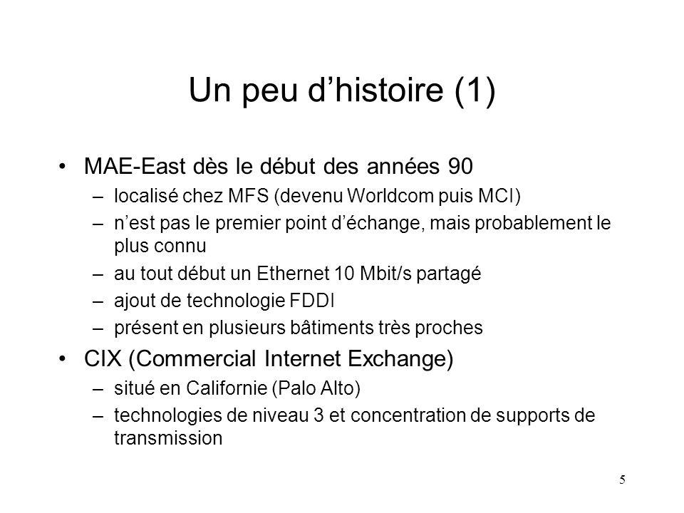 5 Un peu dhistoire (1) MAE-East dès le début des années 90 –localisé chez MFS (devenu Worldcom puis MCI) –nest pas le premier point déchange, mais pro