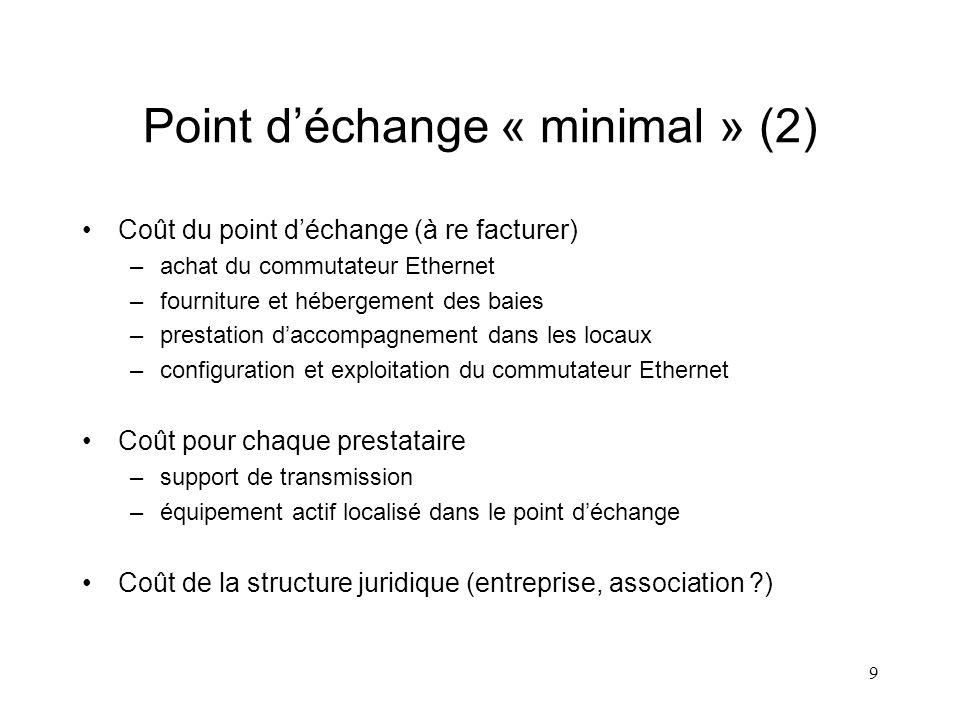 9 Point déchange « minimal » (2) Coût du point déchange (à re facturer) –achat du commutateur Ethernet –fourniture et hébergement des baies –prestatio