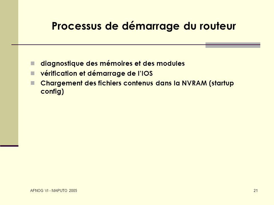 AFNOG VI - MAPUTO 2005 21 Processus de démarrage du routeur diagnostique des mémoires et des modules vérification et démarrage de lIOS Chargement des