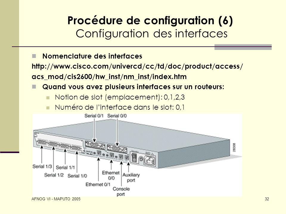 AFNOG VI - MAPUTO 2005 32 Procédure de configuration (6) Configuration des interfaces Nomenclature des interfaces http://www.cisco.com/univercd/cc/td/