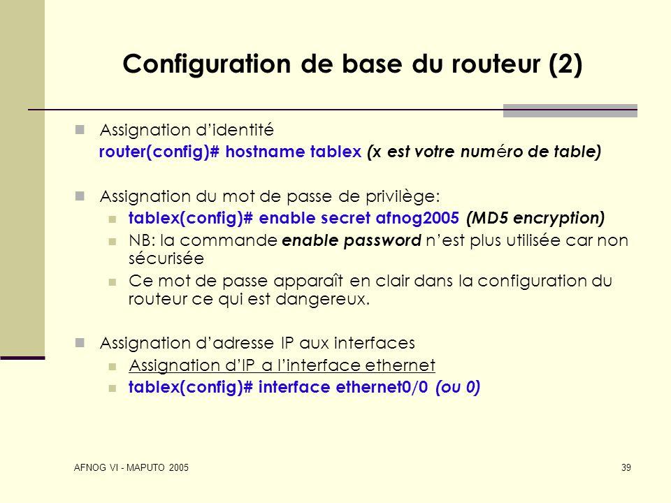 AFNOG VI - MAPUTO 2005 39 Configuration de base du routeur (2) Assignation didentité router(config)# hostname tablex (x est votre num é ro de table) A