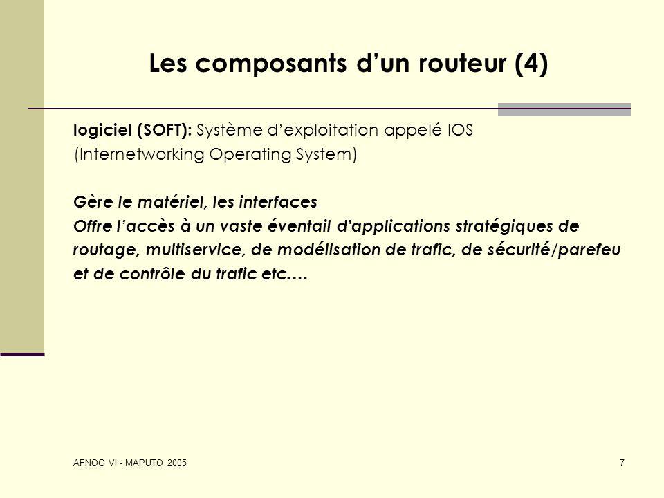 AFNOG VI - MAPUTO 2005 7 Les composants dun routeur (4) logiciel (SOFT): Système dexploitation appelé IOS (Internetworking Operating System) Gère le m