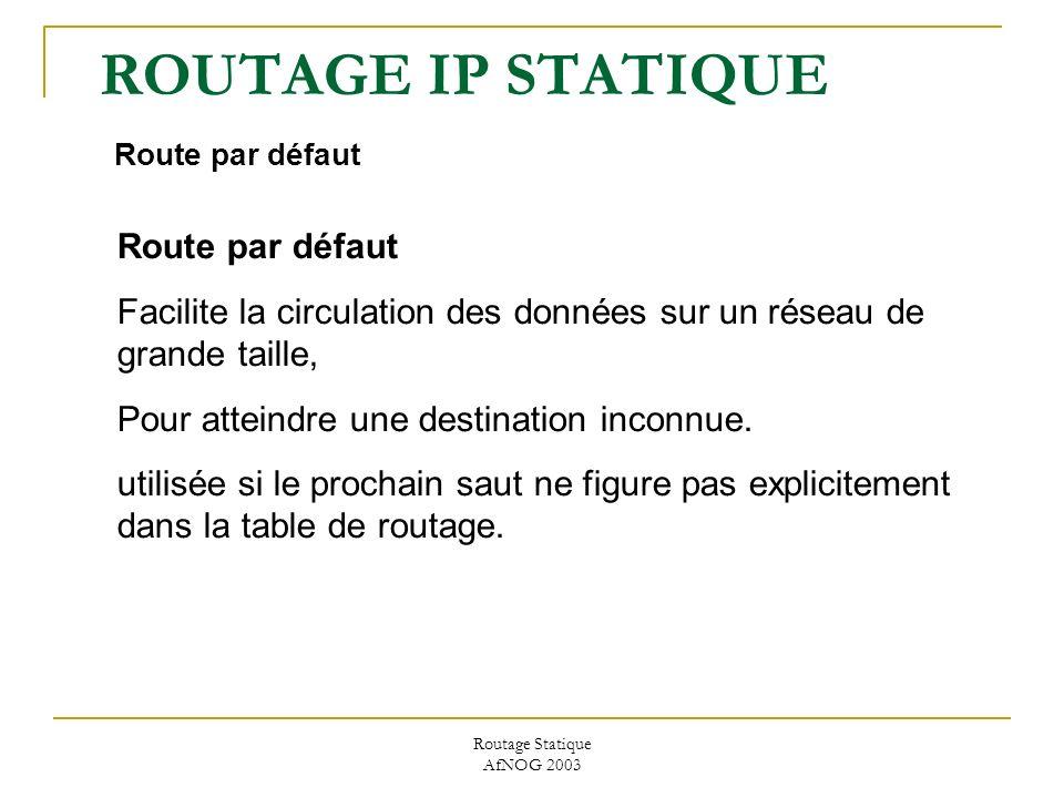Routage Statique AfNOG 2003 ROUTAGE IP STATIQUE Route par défaut Route par défaut Facilite la circulation des données sur un réseau de grande taille, Pour atteindre une destination inconnue.