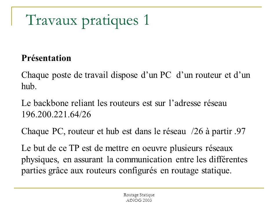 Routage Statique AfNOG 2003 Travaux pratiques 1 Présentation Chaque poste de travail dispose dun PC dun routeur et dun hub.