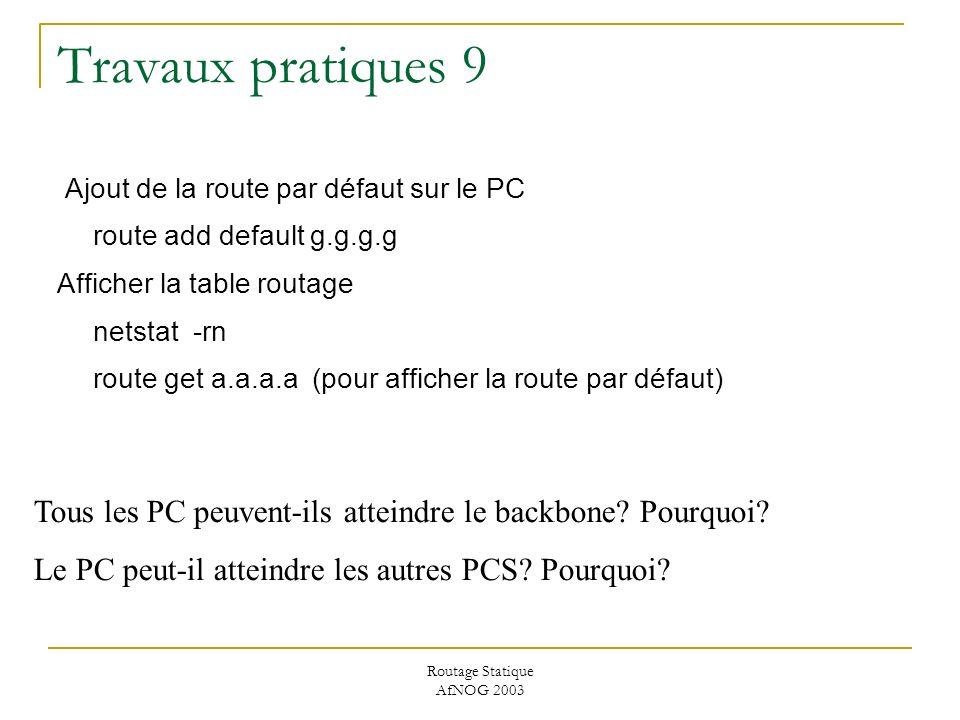 Routage Statique AfNOG 2003 Travaux pratiques 9 Ajout de la route par défaut sur le PC route add default g.g.g.g Afficher la table routage netstat -rn route get a.a.a.a (pour afficher la route par défaut) Tous les PC peuvent-ils atteindre le backbone.