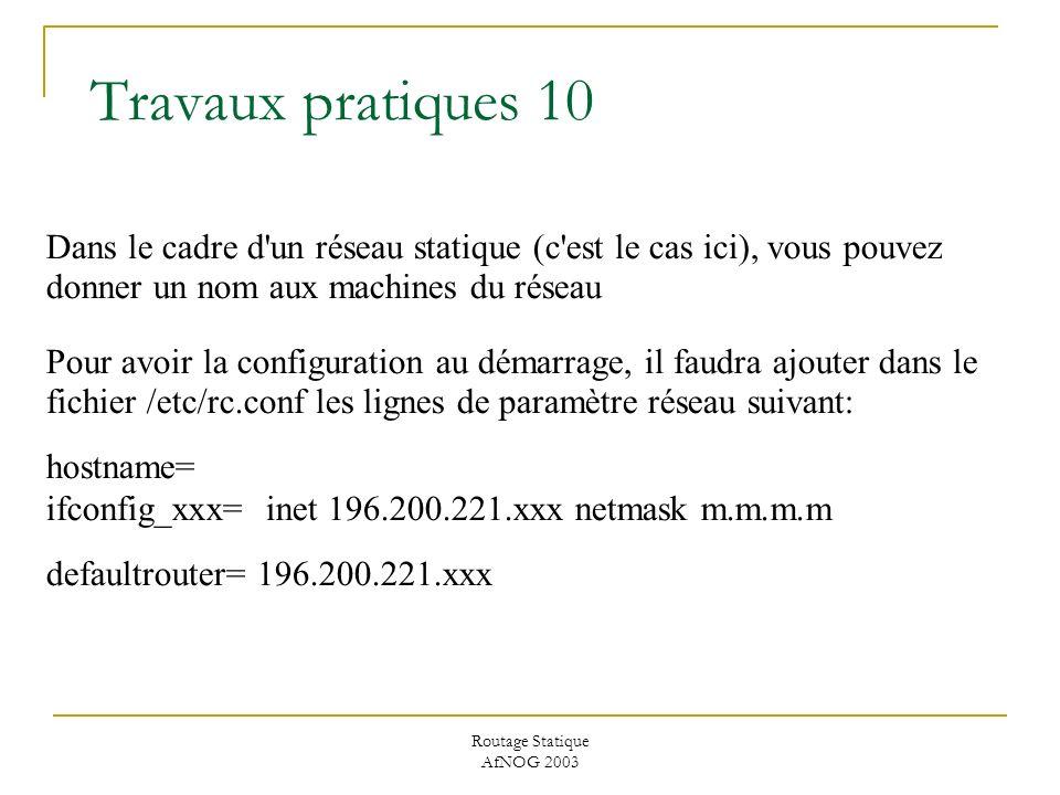 Routage Statique AfNOG 2003 Travaux pratiques 10 Dans le cadre d un réseau statique (c est le cas ici), vous pouvez donner un nom aux machines du réseau Pour avoir la configuration au démarrage, il faudra ajouter dans le fichier /etc/rc.conf les lignes de paramètre réseau suivant: hostname= ifconfig_xxx= inet 196.200.221.xxx netmask m.m.m.m defaultrouter= 196.200.221.xxx