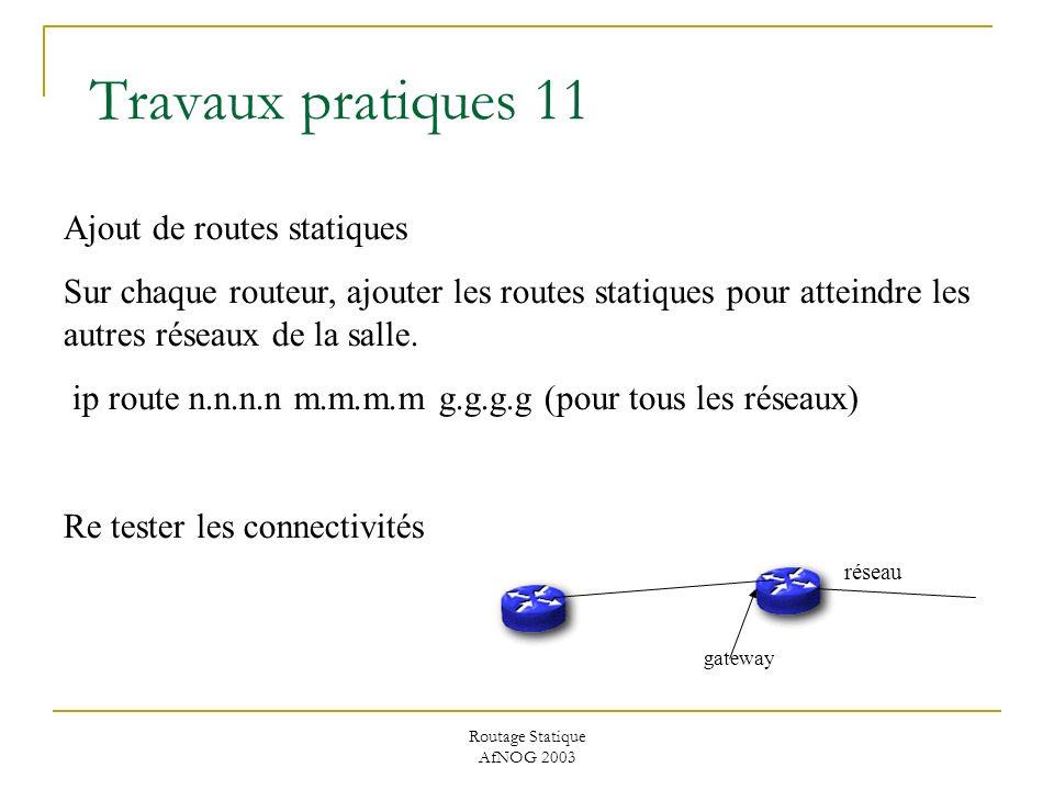 Routage Statique AfNOG 2003 Travaux pratiques 11 Ajout de routes statiques Sur chaque routeur, ajouter les routes statiques pour atteindre les autres réseaux de la salle.
