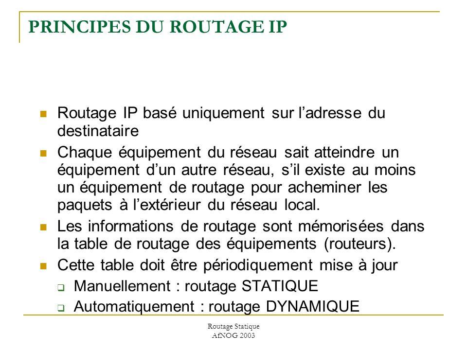 Routage Statique AfNOG 2003 PRINCIPES DU ROUTAGE IP Routage IP basé uniquement sur ladresse du destinataire Chaque équipement du réseau sait atteindre un équipement dun autre réseau, sil existe au moins un équipement de routage pour acheminer les paquets à lextérieur du réseau local.