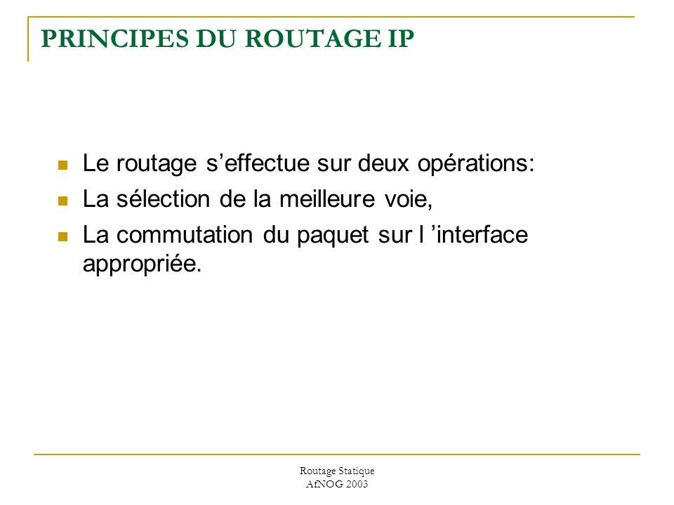 Routage Statique AfNOG 2003 PRINCIPES DU ROUTAGE IP Le routage seffectue sur deux opérations: La sélection de la meilleure voie, La commutation du paquet sur l interface appropriée.