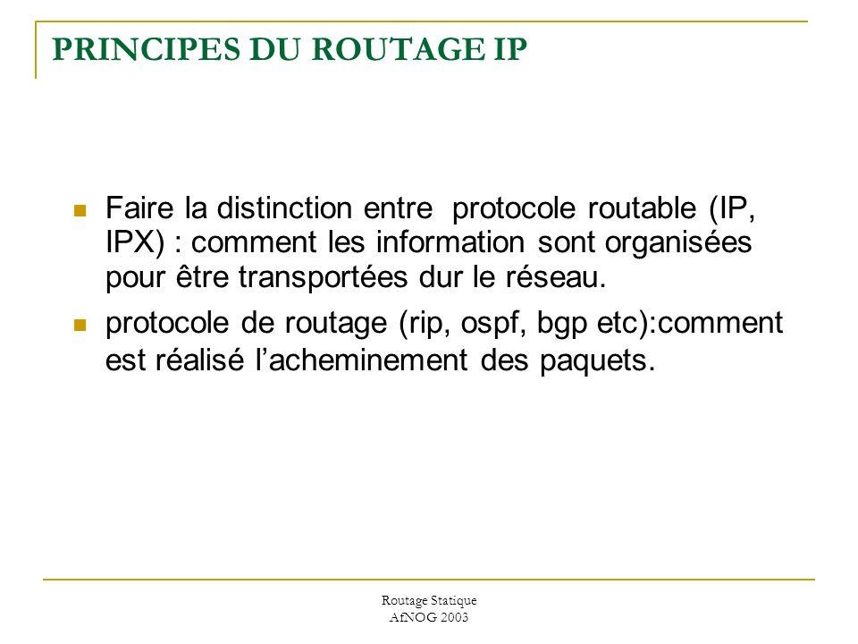 Routage Statique AfNOG 2003 PRINCIPES DU ROUTAGE IP Faire la distinction entre protocole routable (IP, IPX) : comment les information sont organisées pour être transportées dur le réseau.