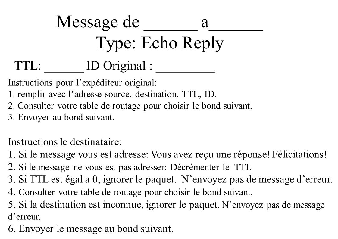 Message de ______ a______ Type: Echo Reply TTL: ______ ID Original : _________ Instructions pour lexpéditeur original: 1.