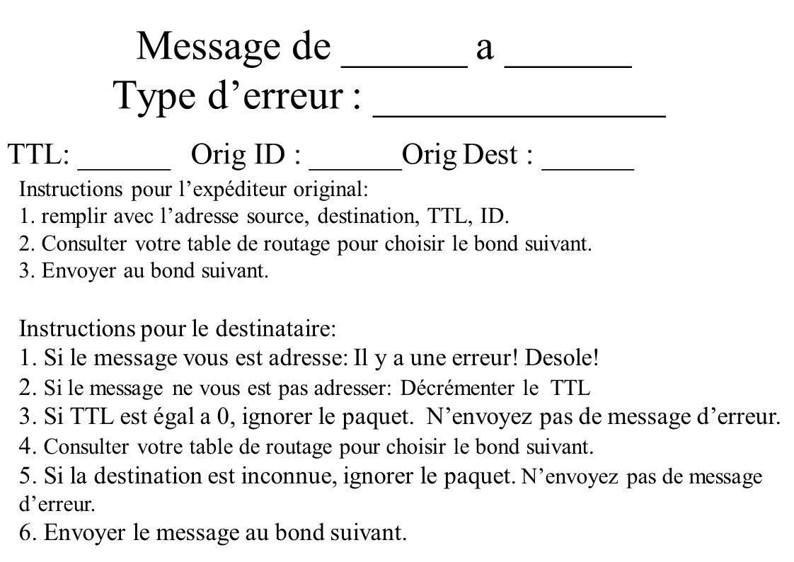 Message de ______ a ______ Type derreur : ______________ TTL: ______ Orig ID : ______Orig Dest : ______ Instructions pour lexpéditeur original: 1.