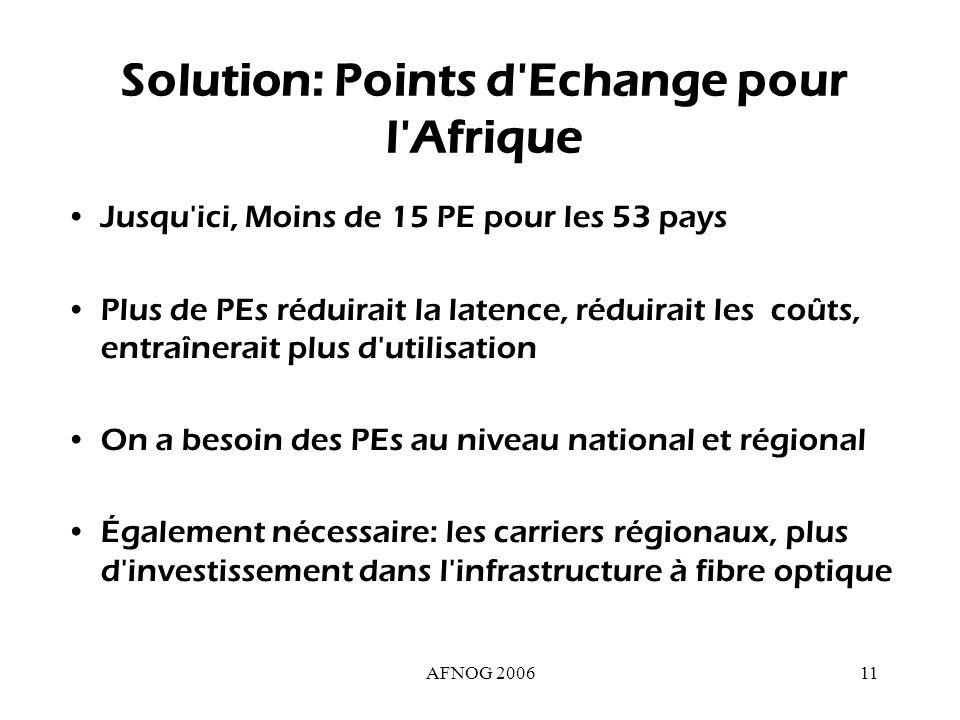 AFNOG 200611 Solution: Points d Echange pour l Afrique Jusqu ici, Moins de 15 PE pour les 53 pays Plus de PEs réduirait la latence, réduirait les coûts, entraînerait plus d utilisation On a besoin des PEs au niveau national et régional Également nécessaire: les carriers régionaux, plus d investissement dans l infrastructure à fibre optique