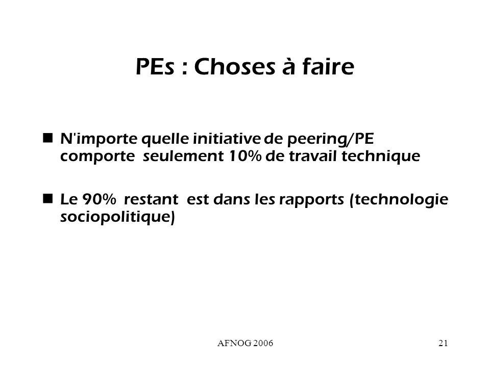 AFNOG 200621 PEs : Choses à faire N importe quelle initiative de peering/PE comporte seulement 10% de travail technique Le 90% restant est dans les rapports (technologie sociopolitique)