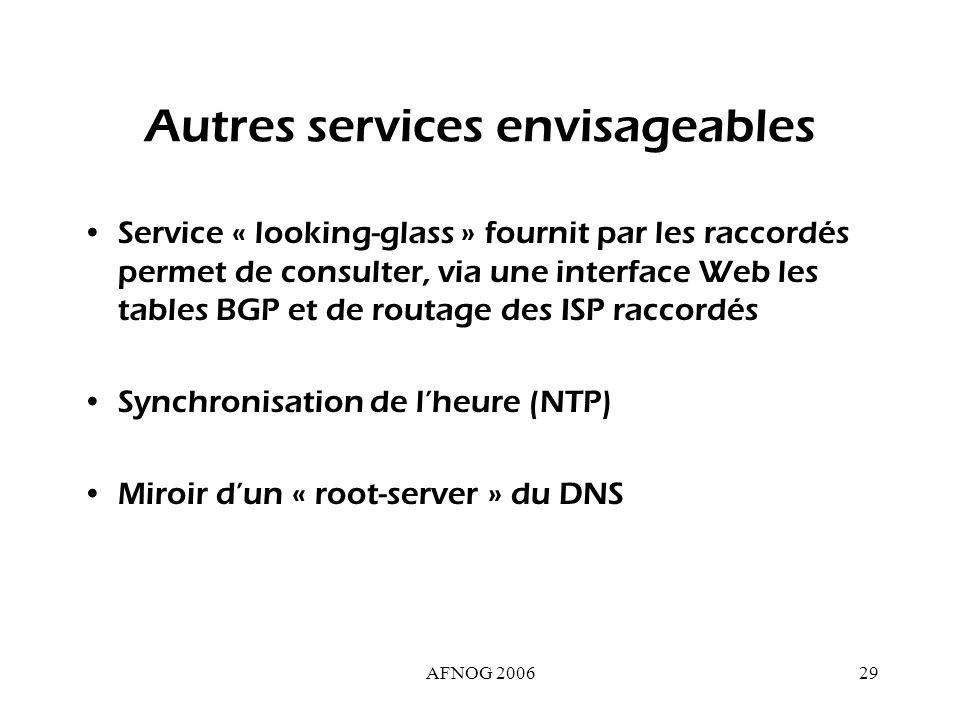 AFNOG 200629 Autres services envisageables Service « looking-glass » fournit par les raccordés permet de consulter, via une interface Web les tables BGP et de routage des ISP raccordés Synchronisation de lheure (NTP) Miroir dun « root-server » du DNS