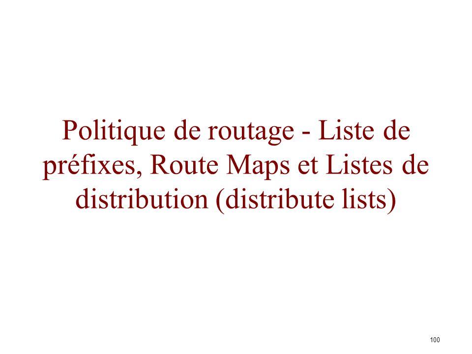 99 Sélection dune route BGP... AS 400 AS 200 AS 100 AS 300 BA D Politique AS 400 pour joindre AS100 AS 200 est préférré AS 300 en secours Augmenter la