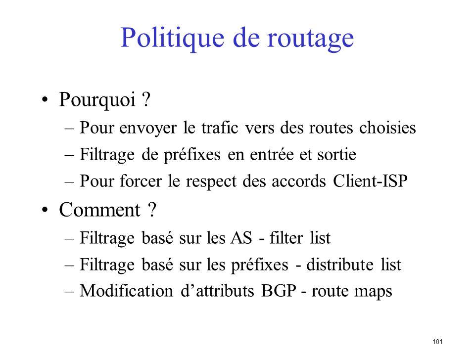 100 Politique de routage - Liste de préfixes, Route Maps et Listes de distribution (distribute lists)