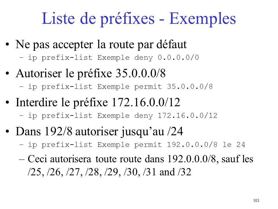 102 Politique - Liste de préfixes Filtrage par voisin –cest une configuration incrémentielle Access-list utilisées très performantes Fonctionne en ent