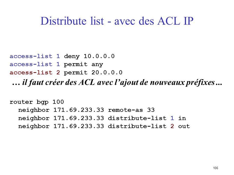 105 Utilisation des listes de préfixes Exemple de configuration router bgp 200 network 215.7.0.0 neighbor 220.200.1.1 remote-as 210 neighbor 220.200.1