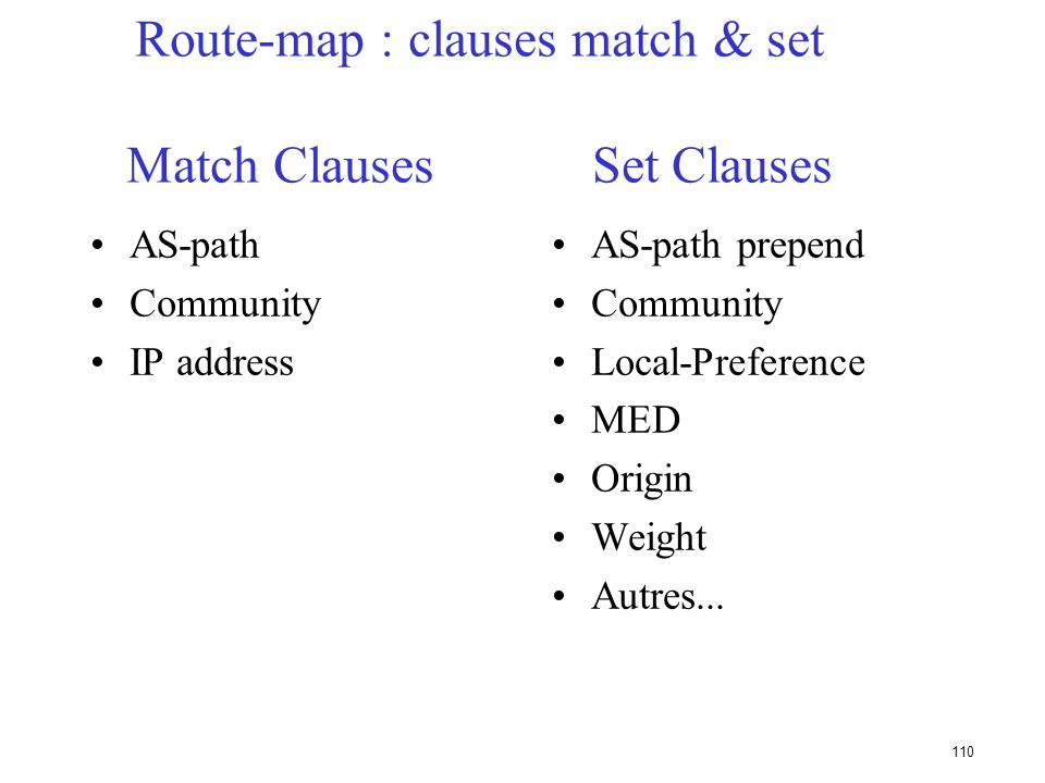 109 Route Maps router bgp 300 neighbor 2.2.2.2 remote-as 100 neighbor 2.2.2.2 route-map SETCOMMUNITY out ! route-map SETCOMMUNITY permit 10 match ip a