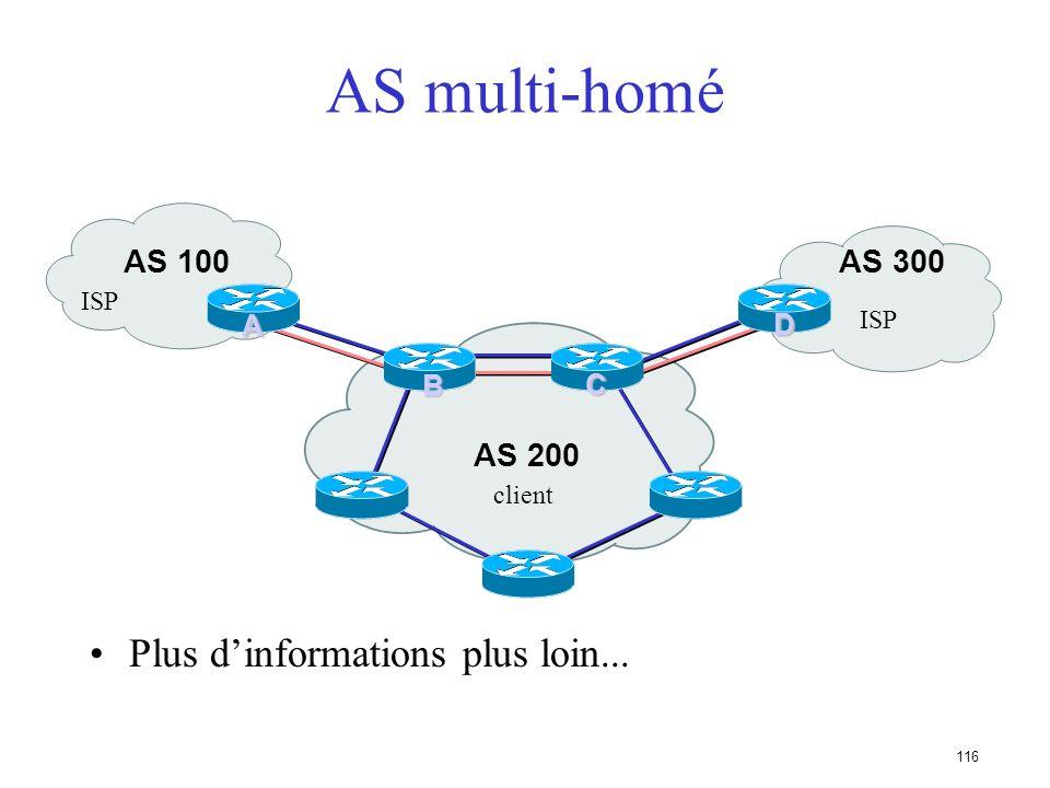 115 AS multi-raccordé (multi-homed) Les routeurs dextrêmité font du BGP Sessions IBGP entre ces routeurs Il faut redistribuer les routes apprises avec