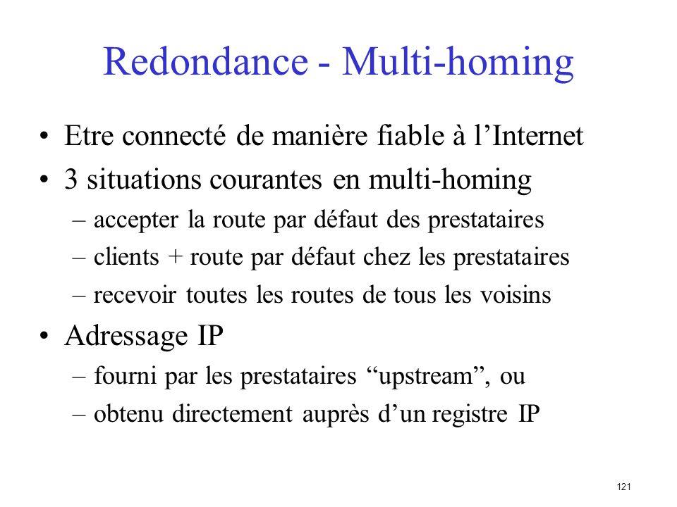 120 100200 A Note : A nannoncera que 1 seul bestpath à ses voisins iBGP Routeur A: router bgp 100 neighbor 10.200.0.1 remote-as 200 neighbor 10.300.0.