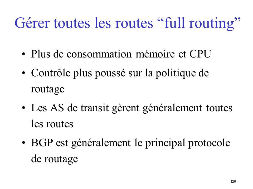 125 Les ISP annoncent les routes de leurs clients AS 400 FAI AS 200 Client AS 100 160.10.0.0/16 FAI AS 300 E B C A D C choisira le plus court chemin d
