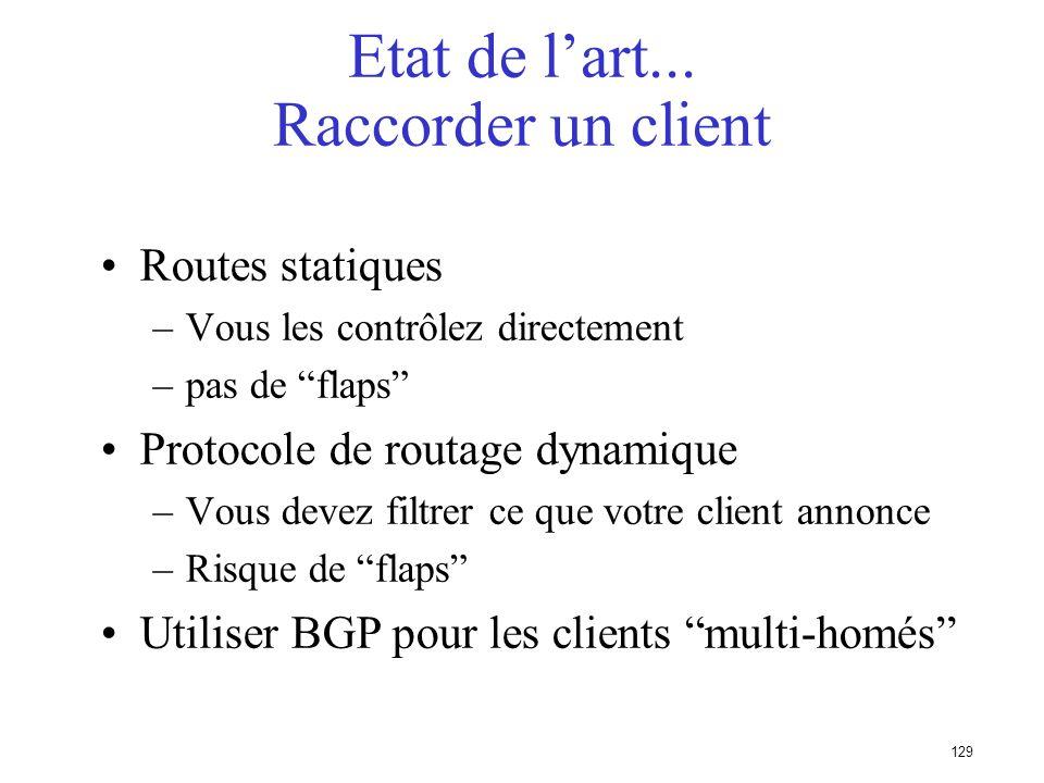 128 Etat de lart Choix de lIGP dans le Backbone LIGP assure la gestion de la topologie de votre infrastructure - pas des réseaux de vos clients LIGP d