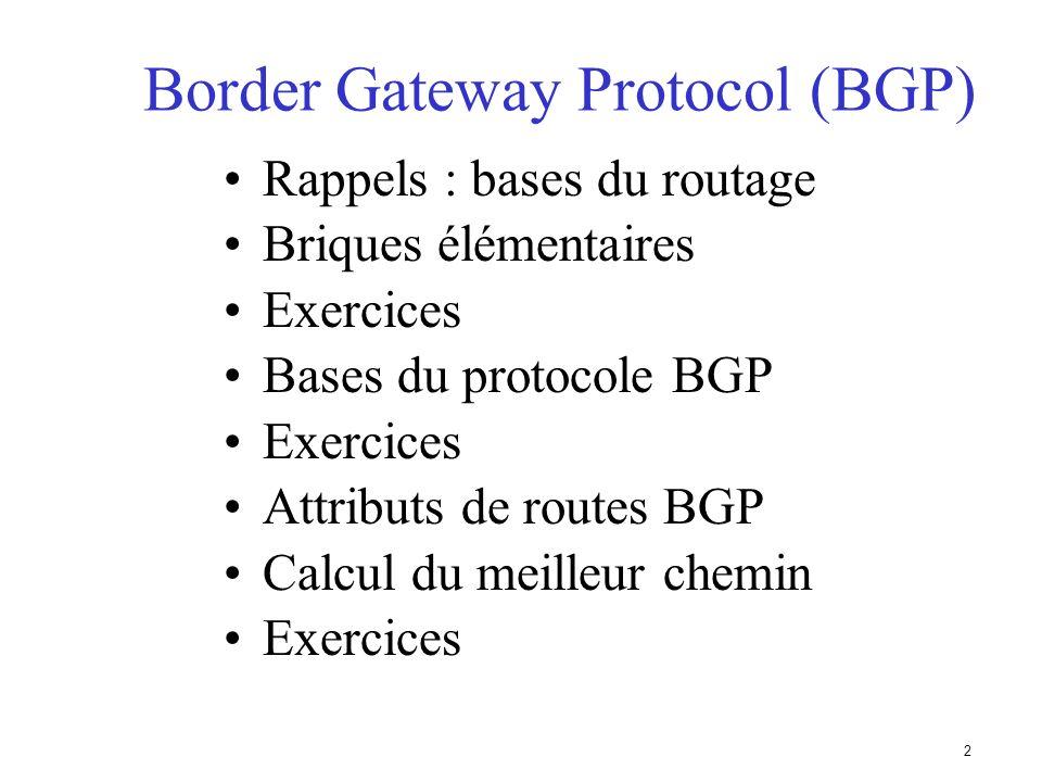 42 Configuration de sessions BGP Il est recommandé dutiliser des interfaces Loopback sur les routeurs comme extrêmités des sessions iBGP AS 100 215.10.7.1 215.10.7.2 215.10.7.3 A B C Connexion TCP/IP iBGP