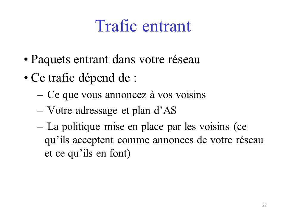 21 Trafic en sortie Paquets qui quittent le réseau – Choix de la route (ce que les autres vous envoient) – Acceptation dune route (ce que vous accepte
