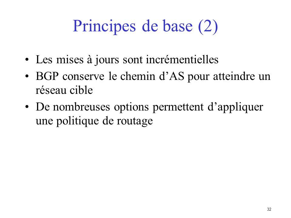 31 Principes de base du protocole BGP est utilisé entre AS – si vous nêtes raccordé quà un seul AS vous navez pas besoin de BGP BGP est transporté par