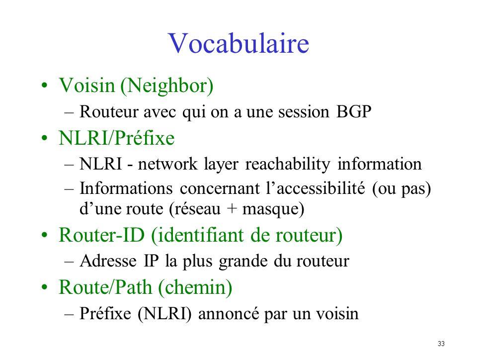 32 Principes de base (2) Les mises à jours sont incrémentielles BGP conserve le chemin dAS pour atteindre un réseau cible De nombreuses options permet