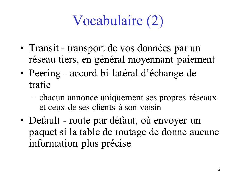 33 Vocabulaire Voisin (Neighbor) –Routeur avec qui on a une session BGP NLRI/Préfixe –NLRI - network layer reachability information –Informations conc