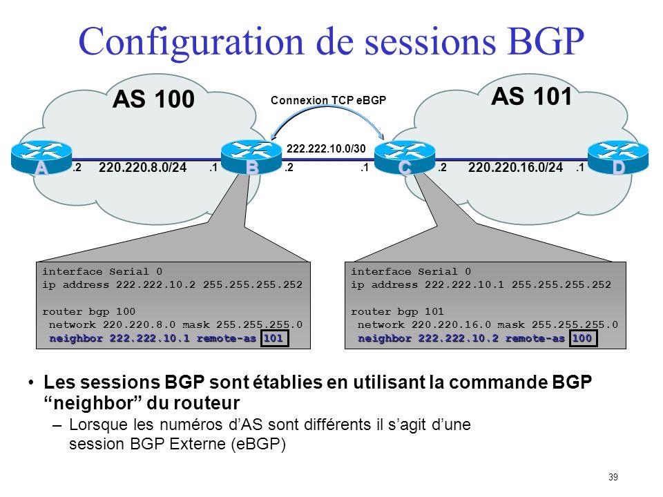 38 AS 100 AS 101 AC Sessions BGP AS 102 D 220.220.8.0/24 220.220.16.0/24 220.220.32.0/24 E B Les voisins BGP séch- angent des messages contenant des p