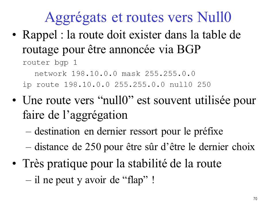 69 Utilisation de la commande network Exemple de configuration network 198.10.4.0 mask 255.255.254.0 ip route 198.10.0.0 255.255.254.0 serial 0 La rou